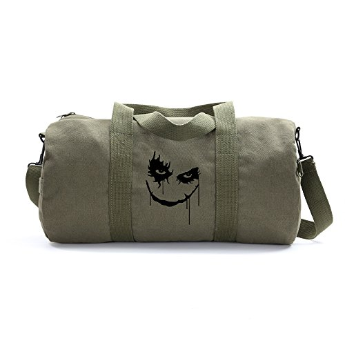 The Joker Face Army Sport Heavyweight Canvas Duffel Bag in Olive, Large