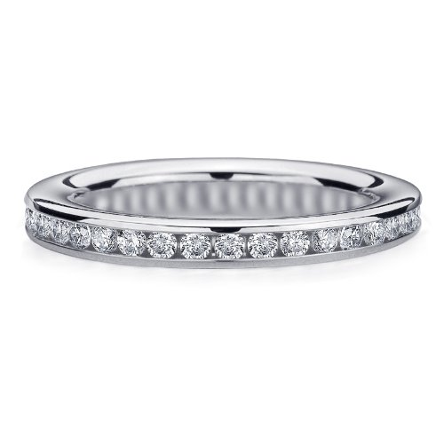 .50 CTTW Diamond Eternity Ring in 10K White Gold, Channel Set Diamond Eternity Wedding Band Anniversary Ring, Size 5.5