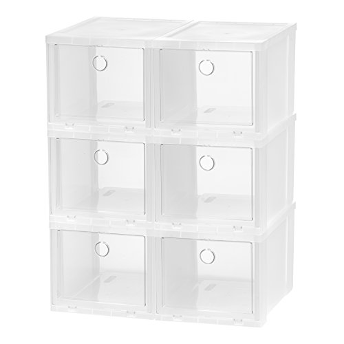 IRIS High Clear Pull Down Front Access Shoe Box, 6 Pack (High Heel Acrylic)