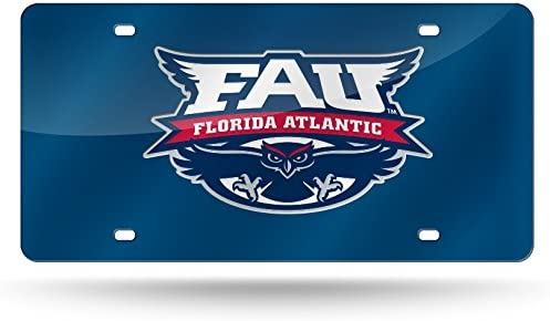 Blue Rico Industries NCAA Florida Atlantic Owls Laser Inlaid Metal License Plate Tag 6 x 12