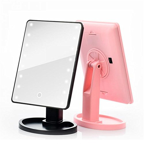 GF Wood Led Touch Screen Mirrors 360 Degrees Rotation Makeup Mirror Adjustable 16/22 Leds Lighted Portable Luminous Cosmetic Mirrors,Pink 22 Led by GF Wood (Image #2)