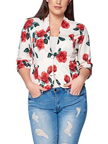 Women's Junior Plus Size Floral Print Blazer Open Front Jacket IvoryRed 2X