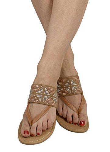 Peach Couture Womens Double Strap Pearl Studded Wide Band Slides Sandals Tan 11 B(M) US -