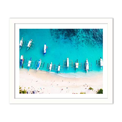 Humble Chic Framed Wall Decor - Fine Art Picture Poster Prints in White Frame for Home Decorations Living Dining Room Bedroom Kitchen Bathroom Office - Boats Aerial Coastal Sea, 16x20 Horizontal