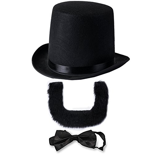 Abraham Lincoln Costume Set - Hat with Beard and Necktie by Funny Party Hats (3 PC Set) -