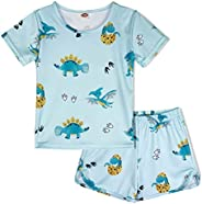 ModaIOO Girls Unicorn Dinosaur Butterfly Flamingo Rainbow Pajamas Kids 2Piece Sleepwear Set