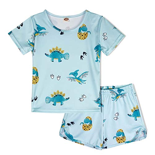 - ModaIOO Girls Unicorn Pajamas Kids 2Piece Short Sleeve Sleepwear Set(Golden/P,100)