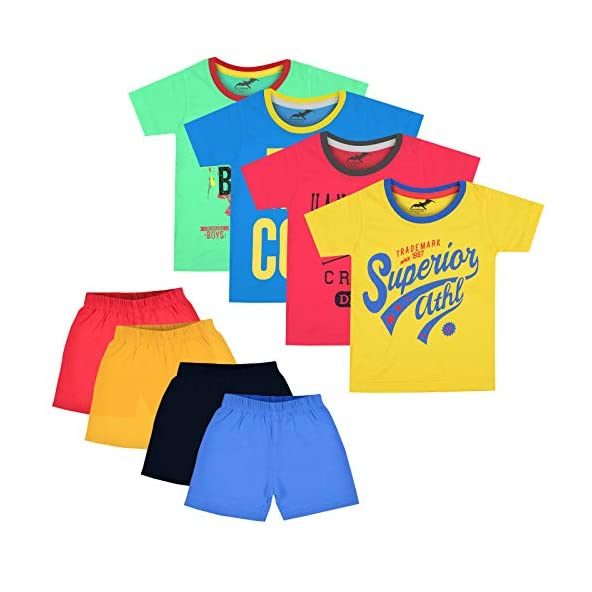 Antshrike Boy's Animal Print Regular fit T-Shirt (Pack of 8) (ANTSKDTSHRT001_Multicoloured_2-3 Years)