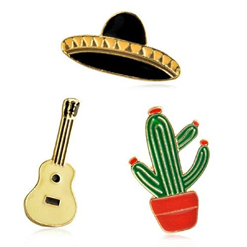 3pcs/set Cartoon Mexico cactus Guitar Hat Metal Brooch Pins Button Pins Jeans Bag Decoration Gift - Guitar Pin Brooch