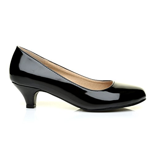 Charm Black Patent PU Leather Low Heel Round Toe Comfort Court Shoes