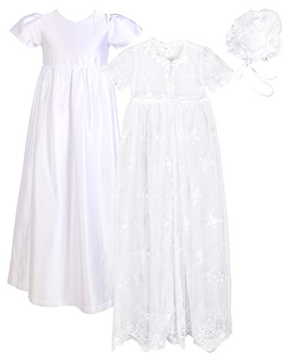 Baby Girls Baptism 3PCS Set(Lace Mesh Dress, Satin Gown, Bonnet) for 0-12 Months