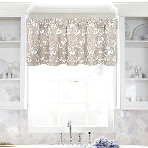 DriftAway Daisy Dahlia Blooming Flower Floral Lined Thermal Insulated Energy Saving Window Curtain Valance for Living Room Bedroom Kitchen 2 Layers Rod Pocket 52 Inch by18 Inch plus2 Inch Header Beige