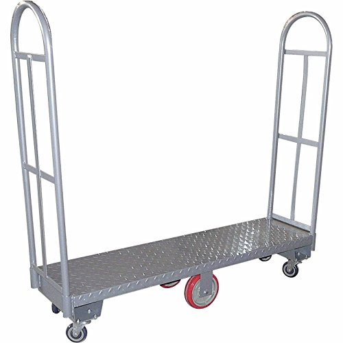 Heavy Duty, Narrow Aisle U-boat Platform Truck Dolly, 16x60 Steel Deck, 1800 Lbs. Capacity