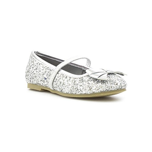 Lilley Sparkle Girls Silver Glitter Ballerina Shoe - Size 11 Child UK - Multicolour