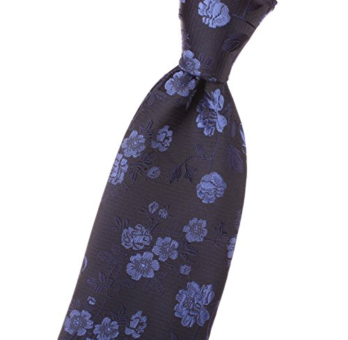EXTRA LONG, LONG, XL - Mens Neckties with blue, navy, solid color, beautiful floral/flower, design - by Jon vanDyk