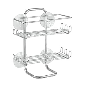 InterDesign Classico Suction Bathroom Caddy - Shower Storage Shelves for Shampoo, Conditioner and Soap - Silver