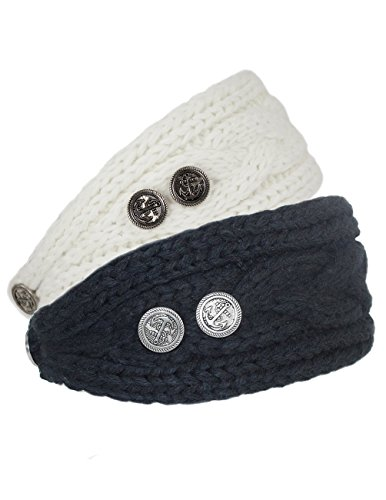Knit Button Band - Dahlia Women's Winter Knit Headband - Button Accented - Black & White Set of 2