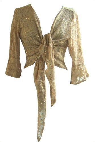 (Gold Sparkly Sequin Lace Front Tie Evening Bolero Shrug. Size 20/22)