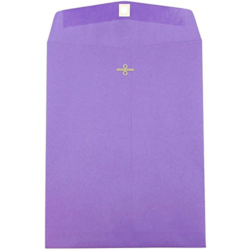 """JAM Paper 10"""" x 13"""" Open End Catalog Envelope with Clasp Closure - Violet Recycled Purple - 10/pack"""