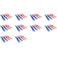 10 x Quantity of WLtoys Mini RC Beetle Transparent Clear Blue and Red Propeller Blades Props Rotor Set 55mm Factory Units