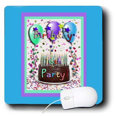 3dRose LLC 8 x 8 x 0.25 Inches Mouse Pad, 16th Birthday Party Invitation Chocolate Cake (mp_22403_1)