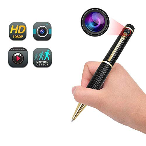 Hidden Camera Pen, Funcilit Spy Cameras 1080P HD Mini Portable Home Security Nanny Cam Pen Camera, Golden