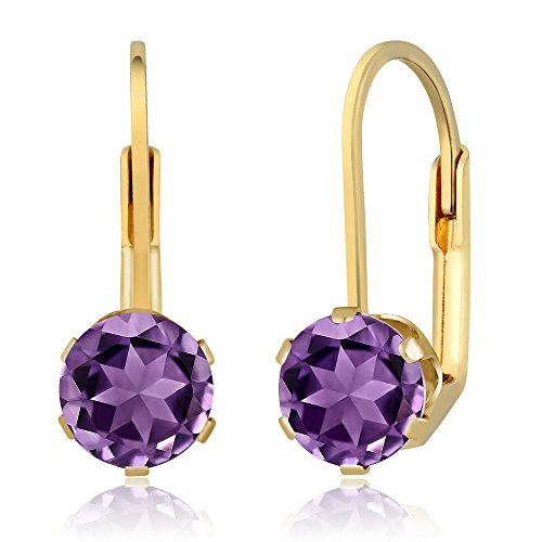 Gem Stone King 1.50 Ct Round 6mm Purple Amethyst Gemstone Birthstone Gold Plated Leverback Earrings