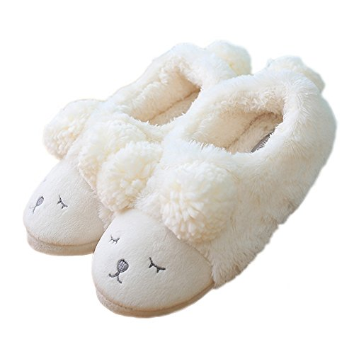 Chicpro Mignonnes Femmes Dames Animal Intérieur Pantoufles Petit Mouton Chaud Chambre Floue Maison Chaussures Pantoufles Blanc