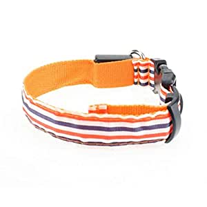 personality multicolor striped pet collar, night glitter dog seat belt, teddy dog collar
