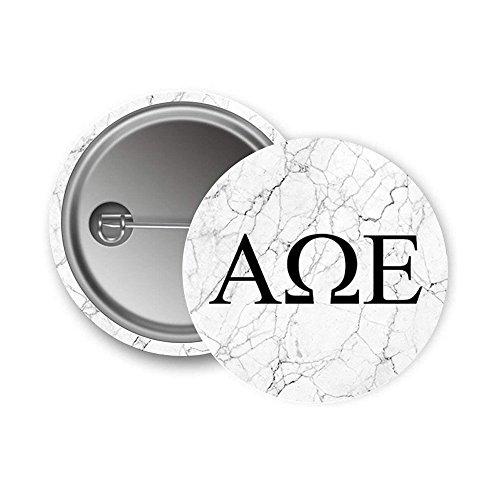 Alpha Omega Epsilon Sorority Light Marble with Black Letters Pin Back Badge 2.25-inch Button AOE