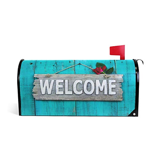 ZZKKO Rose Floral Welcome Magnetic Mailbox Cover Wrap Standard Size 20.8 x 18 Inch