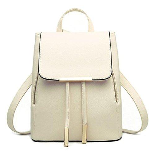 Gotd Women Girls PU Leather Backpacks Schoolbags Travel Shoulder Bag, Beige by Goodtrade8