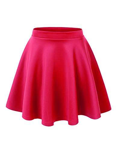 MBJ WB211 Womens Basic Versatile Stretchy Flared Skater Skirt M NEON_Fuchsia