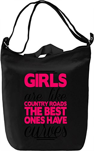 Girls Are Like Country Roads With Curves Canvas Day Bag| 100% Premium Cotton Canvas| DTG Printing| Unique Handbags, Briefcases, Sacks & Custom Fashion Accessories For Men & Women