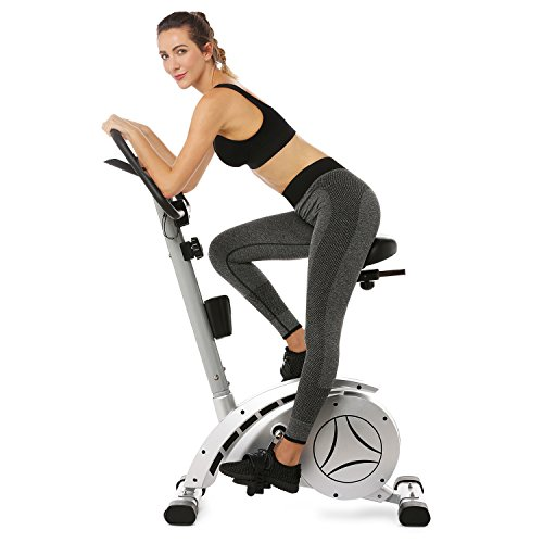 Ferty Upright Exercise Bike with Resistance, 8 Level Magnetic Tension Control, Non-Slip Pedals with Elastic Straps, 12lb Built-in Magnetic Flywheel (US Stock)