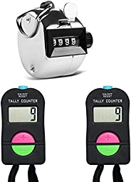 AFUNTA 2 Pcs Electronic Manual Add/Subtract Counter & 1 Pcs Mechanical Manual Clicker, for Golf Running Sw
