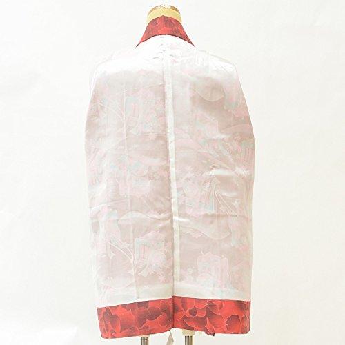 羽織 着物 中古 リサイクル 化繊 花文様 躾付 裄64cm はおり 赤系 裄Mサイズ ll0227c