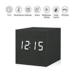 Kpin Digital Alarm Clock, Wooden LED Light Mini Modern Cube Desk Alarm Clock Displays Time Date Temperature for Kids, Bedrooms, Home, Dormitory, Travel