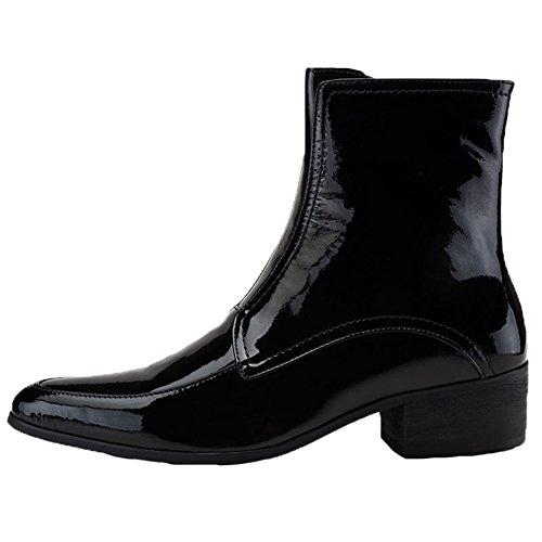 Santimon Mens Dress Boots In Vernice Punta A Punta Chelsea Con Cerniera Laterale Nera