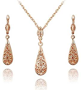 raindrops style gold plated fashion jewelry set