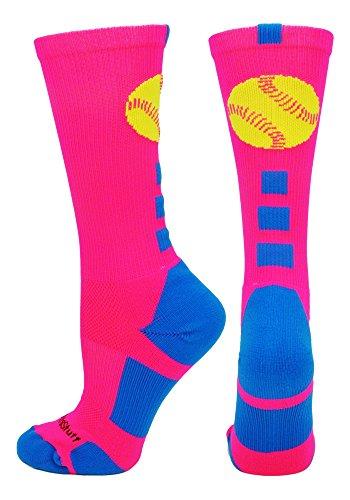 MadSportsStuff Softball Logo Crew Socks (Neon Pink/Electric Blue, - Baseball Mlb Pink Shirt