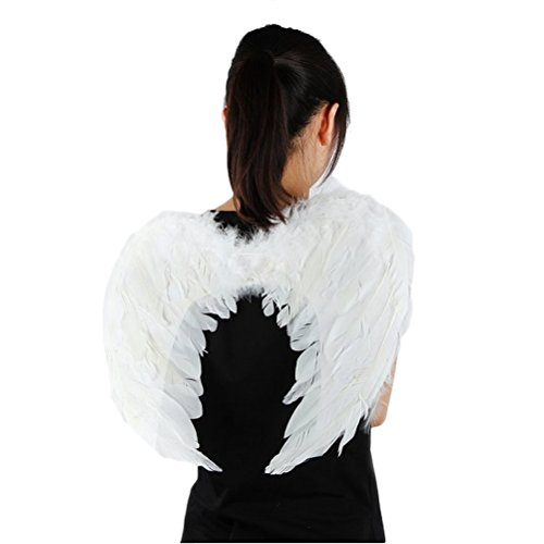 [Genluna Stage Perform Halloween Party Costumes Feather Angel Wing 4560cm White] (Angel Wings For Halloween Costumes)