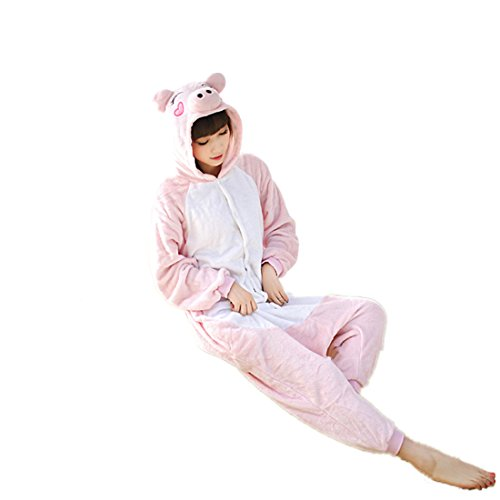 Owence Unisex Adult Plush Pajamas Cosplay Homewear Lounge Wear-Pink Pig-S
