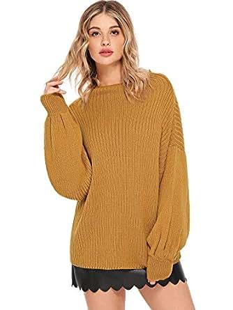 SweatyRocks Women's High Neck Drop Shoulder Striped Hem Pullover Sweater Knit Jumper Ginger S