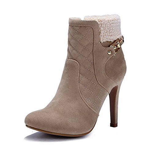 AmoonyFashion Womens Round-Toe Closed-Toe High-Heels Boots With Thread and Stiletto Khaki ncPiBnyNim