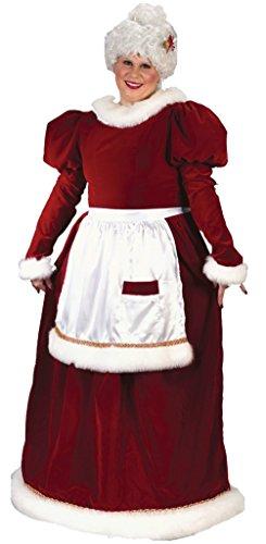 Funworld Womens Christmas Holiday Mrs Santa Claus Lady Velvet Fancy Costume, Plus (16-24) (Mrs Marvel Costume)