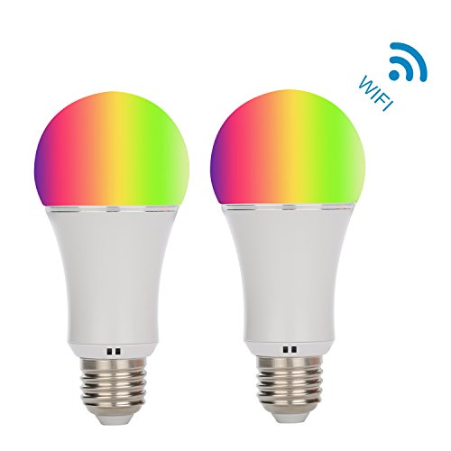 Akface WiFi Smart Light Bulb-Smartphone Remote Controlled Sunrise Wake Up Lights - Multicolored Color Changing A19 Light-Dimmable Sunset Sleeping Light.Compatible with Alexa Echo Dot,2 Pcs (Ceiling Register Remote)