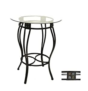 Metal pub table with glass top and slate for Kitchen table with glass insert