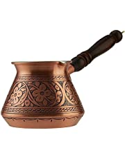 CopperBull THICKEST Solid Hammered Copper Turkish Greek Arabic Coffee Pot Stovetop Coffee Maker Cezve Ibrik Briki with Wooden Handle
