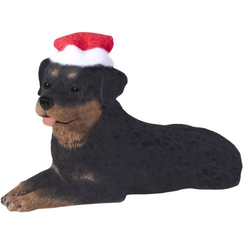 - Sandicast Rottweiler with Santa Hat Christmas Ornament